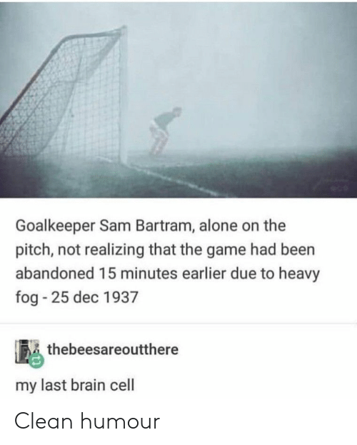 Being Alone, The Game, and Brain: Goalkeeper Sam Bartram, alone on the  pitch, not realizing that the game had been  abandoned 15 minutes earlier due to heavy  fog 25 dec 1937  thebeesareoutthere  my last brain cell Clean humour