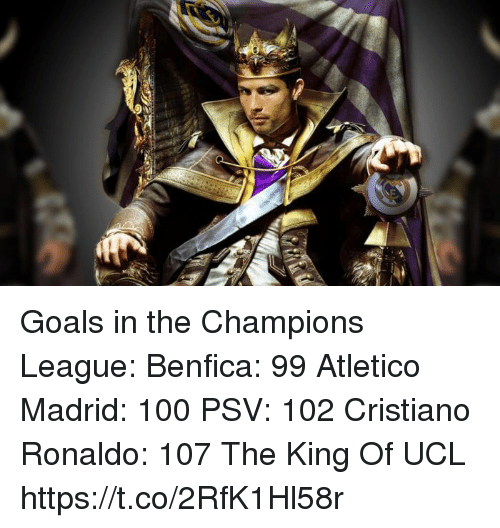 Anaconda, Cristiano Ronaldo, and Goals: Goals in the Champions League:  Benfica: 99 Atletico Madrid: 100 PSV: 102  Cristiano Ronaldo: 107  The King Of UCL https://t.co/2RfK1Hl58r