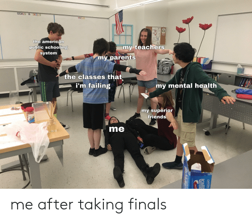 Finals, Friends, and Goals: GOALS&SKILLS  VOCAB  the american  public schooling  my teachers  system  my parents  the classes that  i'm failing  my mental health  my superior  friends  Rainbow  Sprinkde  me  ALGE  ALCE  HMAN LEGACY  HoAN LEGACY  CAPRISUN  ROARD  WATERS  Berry  FLAVORED WATER BEVE me after taking finals