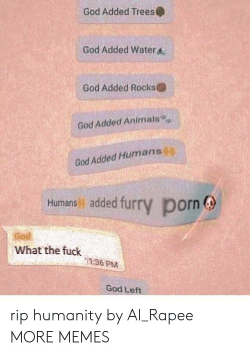 Animals, Dank, and God: God Added Trees  God Added Water  God Added Rocks  God Added Animals  God Added Humans  Humans added fur  y porn  God  What the fuck  136 PM  God Left rip humanity by Al_Rapee MORE MEMES