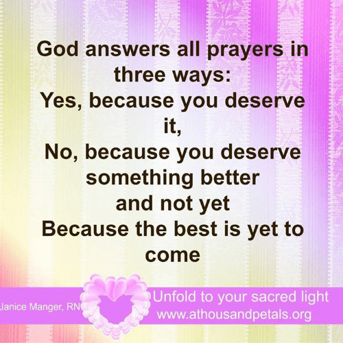 Yes or no answers from god