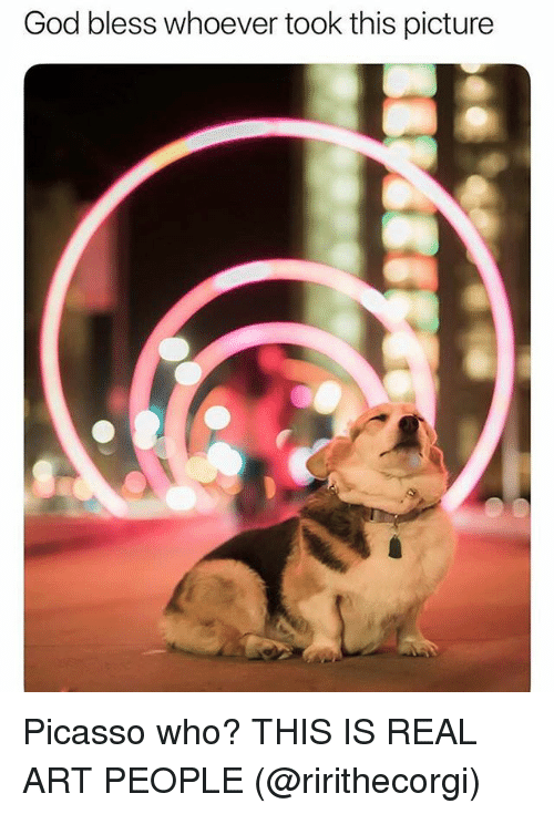 Funny, God, and Picasso: God bless whoever took this picture Picasso who? THIS IS REAL ART PEOPLE (@ririthecorgi)