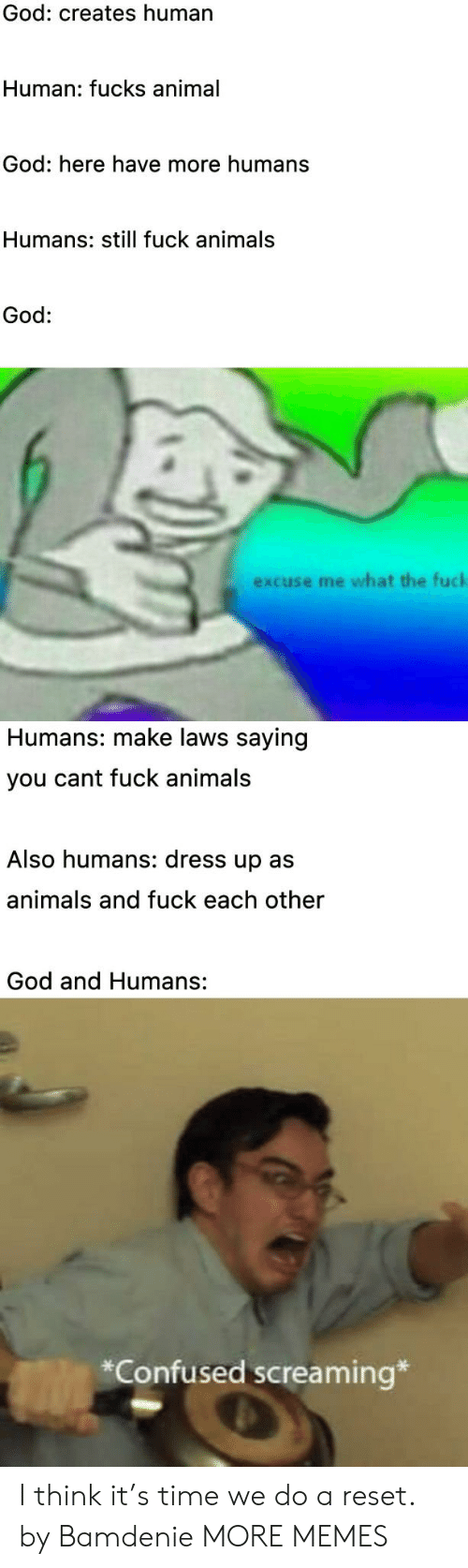 Animals, Confused, and Dank: God: creates human  Human: fucks animal  God: here have more humans  Humans: still fuck animals  God:  excuse me what the fuck  Humans: make laws saying  you cant fuck animals  Also humans: dress up as  animals and fuck each other  God and Humans:  *Confused screaming* I think it's time we do a reset. by Bamdenie MORE MEMES