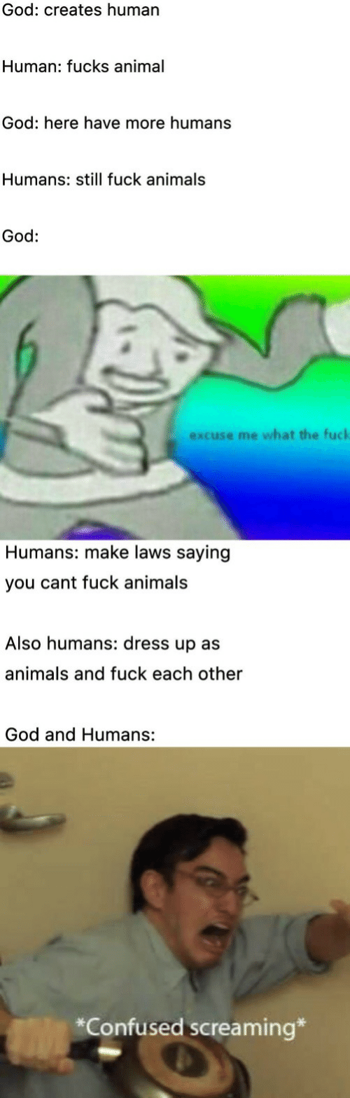 Animals, Confused, and God: God: creates human  Human: fucks animal  God: here have more humans  Humans: still fuck animals  God:  excuse me what the fuck  Humans: make laws saying  you cant fuck animals  Also humans: dress up as  animals and fuck each other  God and Humans:  *Confused screaming*