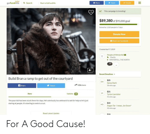 Facebook, Reddit, and Weird: gofundme a Search  f Share  Donate  Start a GoFundMe  Tweet  This campaign is trending!  1.5k  $89,380 of $95,000 goal  Raised by 1,520 peopie in 7 days  Donate Now  Share on Facebook  Created April 7, 2019  People of Winterfell  Charity  WINTERFELL, THE NORTH  9  曲7  Recent Donations  Build Bran a ramp to get out of the courtyard  $25  Sansa Stark  36 mins ago  DM  Share  Tweet  5.1k shares  $21  Tyrion Lannister  41 mins ago  LH  Story  Updates2  The poor kid has been stuck there for days. He's obviously too awkward to ask for help so he's just  staring at people. It's starting to weird us out  $15  MD  Aegon Tar-I mean, Jon Snow  42 mins ago  Read Latest Update  $10 For A Good Cause!