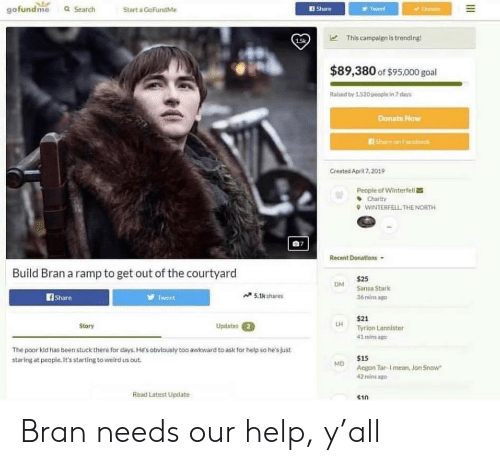 Facebook, Game of Thrones, and Weird: gofundme a Search  Start a GoFundMe  Share  15k  This campaign is trending!  $89,380 of $95.000 goal  Ralsed by 1.520 people in 7 days  Donats Now  Shace on Facebook  Created April 7,2019  People of Winterfell  Charty  wiNTERFELTHE NORTH  Recent Donations  Build Bran a ramp to get out of the courtyard  $25  Sansa Stark  36minsag  DM  fShare  Tet  5.1k shares  $21  Tyrion Lannister  41 minsa  Updates  Story  The poor kid has been stuck there for days. He's obvlously too awkward to ask for help so he's just  staring at people. It's starting to weird us out  $15  Aegon Tar-I mean, Jon Snow  2 mins a  Read Latest Update  $10 Bran needs our help, y'all