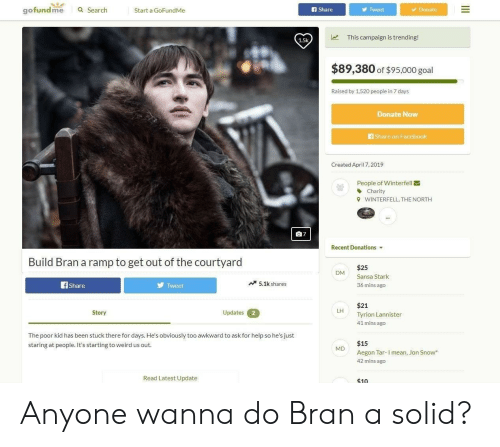 Facebook, Game of Thrones, and Weird: gofundme Search tarta GofundiMe  f Share  Tweet  Donate  This campaign is trending!  1.5k  $89,380 of $95,000 goal  Raised by 1,520 people in 7 days  Donate Now  share on Facebook  Created April 7,2019  People of Winterfell  Charity  WINTERFELL, THE NORTH  9  Recent Donations  Build Bran a ramp to get out of the courtyard  $25  DM Sansa Stark  5.1kshares  36 mins ago  Share  Tweet  $21  Tyrion Lannister  41 mins ago  Updates 2  LH  Story  The poor kid has been stuck there for days. He's obviously too awkward to ask for help so he's just  staring at people. It's starting to weird us out  $15  Aegon Tar-I mean, Jon Snow  42 mins ago  MD  Read Latest Update  $10 Anyone wanna do Bran a solid?