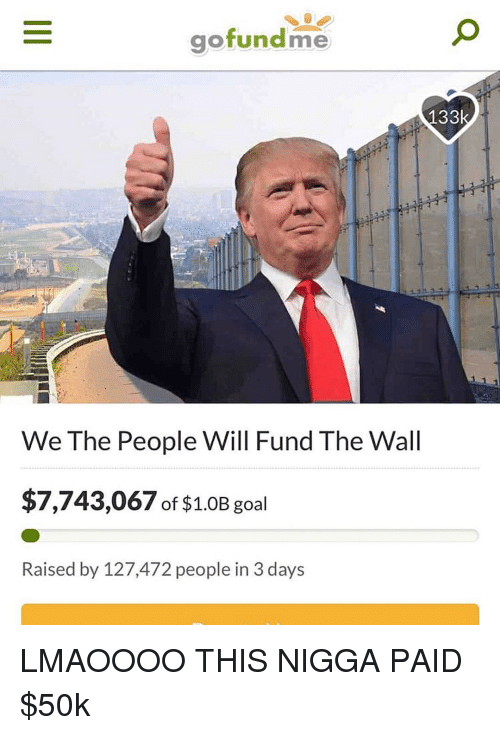 Goal, Dank Memes, and The Wall: gofundme  We The People Will Fund The Wall  $7,743,067 of $1.0B goal  Raised by 127,472 people in 3 days LMAOOOO THIS NIGGA PAID $50k