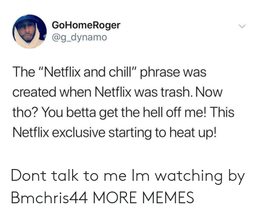 "Chill, Dank, and Memes: GoHomeRoger  @g_dynamo  The ""Netflix and chill"" phrase was  created when Netflix was trash. Now  tho? You betta get the hell off me! This  Netflix exclusive starting to heat up! Dont talk to me Im watching by Bmchris44 MORE MEMES"