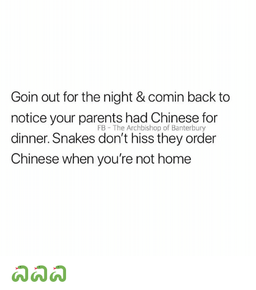 Parents, Chinese, and Home: Goin out for the night & comin back to  notice your parents had Chinese for  dinner. Snakes don't hiss they order  Chinese when you're not home  FB - The Archbishop of Banterbury 🐍🐍🐍