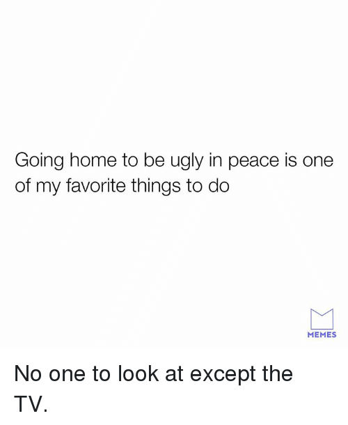 Dank, Memes, and Ugly: Going home to be ugly in peace is one  of my favorite things to do  MEMES No one to look at except the TV.