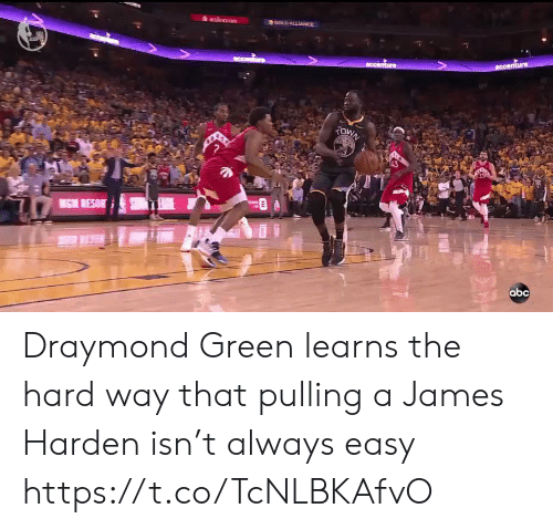 Abc, Draymond Green, and James Harden: GOLD ALLIANCE  Ccenture  nhre  zOWN  MICM RESOR  abc Draymond Green learns the hard way that pulling a James Harden isn't always easy https://t.co/TcNLBKAfvO