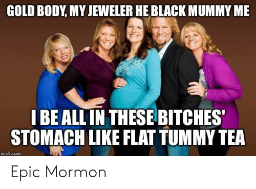 Black, Mormon, and Epic: GOLD BODY, MY JEWELER HE BLACK MUMMY ME  I BE ALL IN THESE BITCHES  STOMACH LIKE FLAT TUMMY TEA  imgflip.com Epic Mormon