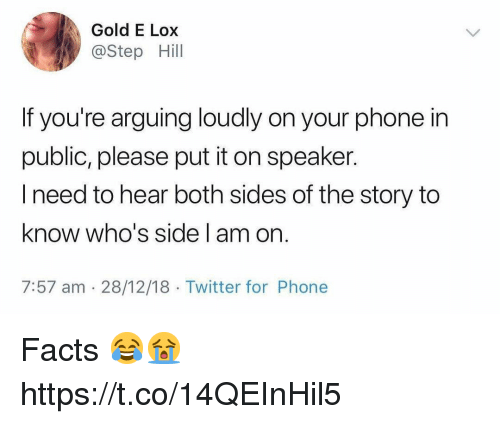 Facts, Phone, and Twitter: Gold E Lox  @Step Hill  If you're arguing loudly on your phone in  public, please put it on speaker.  I need to hear both sides of the story to  know who's side am on  7:57 am 28/12/18 Twitter for Phone Facts 😂😭 https://t.co/14QEInHil5