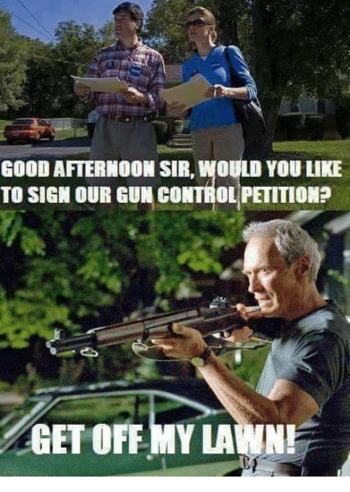 Memes, Control, and Good: GOOD AFTERNOON SIR, WOULD YOU LIKE  TO SIGN OUR GUN CONTROL PETITIOM?  GET OFF MY LAWNI
