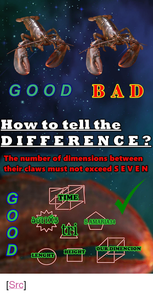 """Bad, Reddit, and Good: GOOD BAD  How to tell the  DIFFERE NCE?  he number of dimensions between  their claws must not exceed SEVEN  TIME  SAMARIA34  OURDIME  NCION  HEIGHT  LENGHT <p>[<a href=""""https://www.reddit.com/r/surrealmemes/comments/852s1w/g_o_o_d_l_o_b_n_s_t_e_r_r/"""">Src</a>]</p>"""
