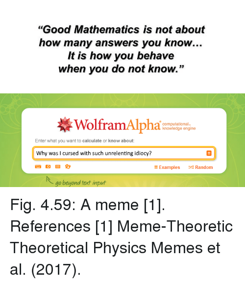 """Non Existent Existentialist, Als, and Random: """"Good Mathematics is not about  how many answers you know..  It is how you behave  when you do not know.""""  WolframAlpha  computational-  knowledge engine  Enter what you want to calculate or know about  Why was l cursed with such unrelenting idiocy?  E Examples  Random  go beyond fext input Fig. 4.59: A meme [1].  References  [1] Meme-Theoretic Theoretical Physics Memes et al. (2017)."""