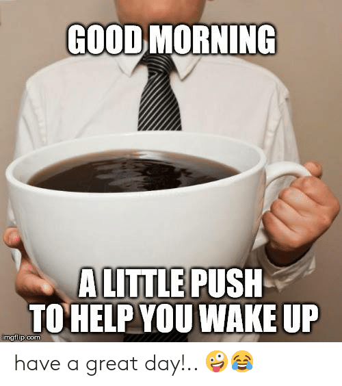 Memes, Good Morning, and Good: GOOD MORNING  A LITTLE PUSH  TOHELP YOU WAKE UP  mgflip.com have a great day!.. 🤪😂