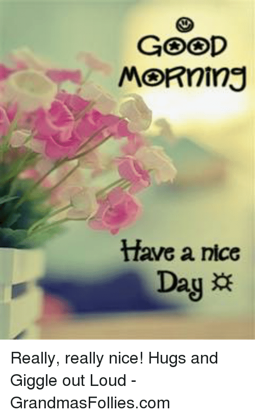 Good Morning Have A Nice Day Really Really Nice Hugs And Giggle Out