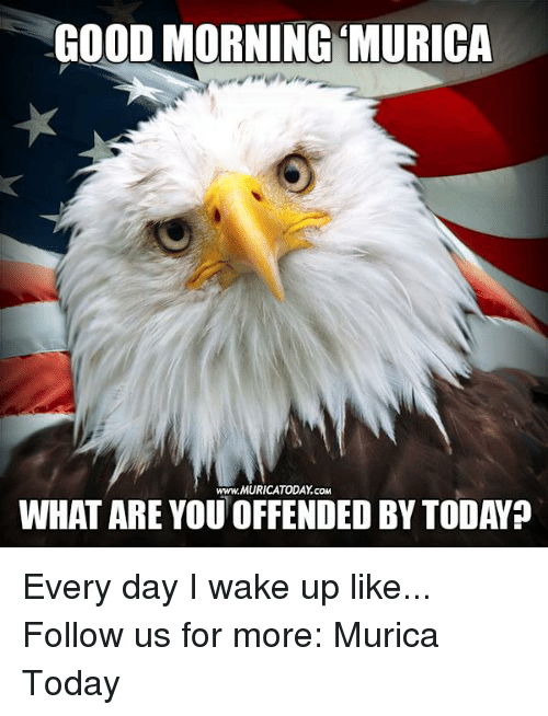 Memes, Good Morning, and 🤖: GOOD MORNING MURICA  WHAT ARE YOU OFFENDED BY TODAYp Every day I wake up like...  Follow us for more: Murica Today