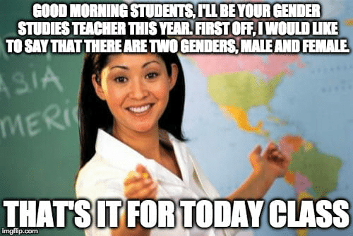 Memes, Teacher, and Good Morning: GOOD MORNING STUDENTS, I'LL BE YOUR GENDER  STUDIES TEACHER THIS YEAR. FIRST OFF, IWOULD LIKE  TO SAYTHAT THERE ARE TWO GENDERS,MALEAND FEMALE  MER  THATSITFORTODAY CLASS  imgflip.com