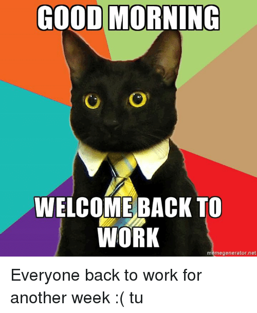 good morning welcome back to work meme generator net everyone 7521447 ✅ 25 best memes about welcome back to work welcome back to,First Day Back At Work Meme