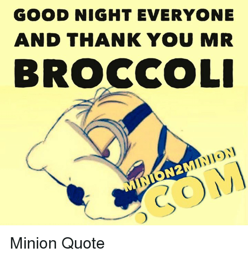 good night everyone and thank you mr broccoli indon minion 11672022 good night everyone and thank you mr broccoli indon minion quote