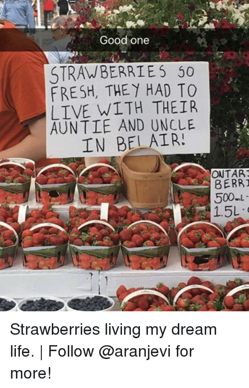 Fresh, Life, and Memes: Good one  STRAWBERRIES 50  FRESH, THEY HAD TO  LIVE WITH THEIR  AUNTIE AND UNCLE  IN BELAIR!  ONTART  BERRI  500 Strawberries living my dream life.   Follow @aranjevi for more!