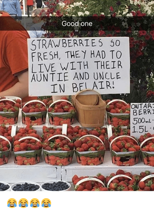 Fresh, Good, and Live: Good one  STRAWBERRIES 50  FRESH, THEY HAD TO  LIVE WITH THEIR  AUNTIE AND IN BEL AIR  ONTAR  BERRT  500ml  1.5L 😂😂😂😂