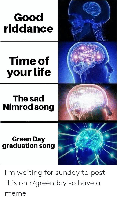 Life, Meme, and Good: Good  riddance  Time of  your life  The sad  Nimrod song  Green Day  graduation song I'm waiting for sunday to post this on r/greenday so have a meme