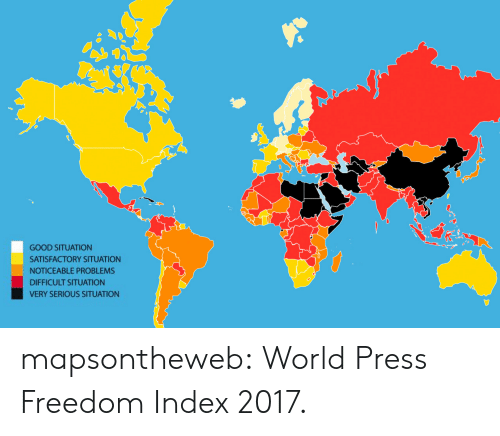 Target, Tumblr, and Zoom: GOOD SITUATION  SATISFACTORY SITUATION  NOTICEABLE PROBLEMS  DIFFICULT SITUATION  VERY SERIOUS SITUATION mapsontheweb:  World Press Freedom Index 2017.