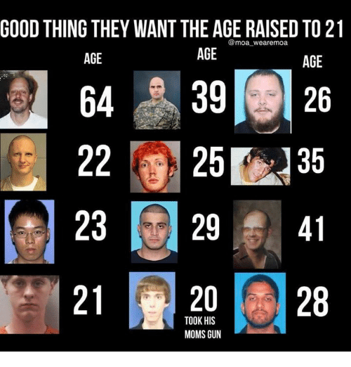 Memes, Moms, and Good: GOOD THING THEY WANT THE AGE RAISED TO 21  @moa wearemoa  AGE  AGE  AGE  64 39 26  22 25 35  23 29 41  21 201 128  TOOK HIS  MOMS GUN