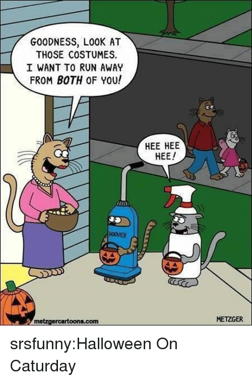 Caturday, Halloween, and Run: GOODNESS, LOOK AT  THOSE COSTUMES  I WANT TO RUN AWAY  FROM BOTH OF YOU!  HEE HEE  HEE  HOOVER  metzgercartoons.com  METZGER srsfunny:Halloween On Caturday