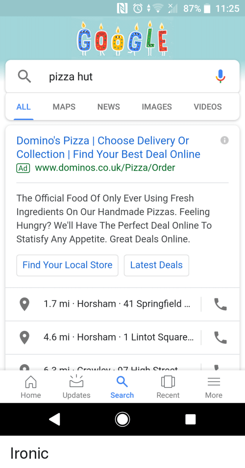 Google 0 Pizza Hut All Maps News Images Videos Dominos