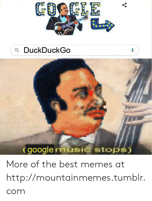 Google, Memes, and Music: GOOGLE  aDuckDuckGo  google music stops) More of the best memes at http://mountainmemes.tumblr.com