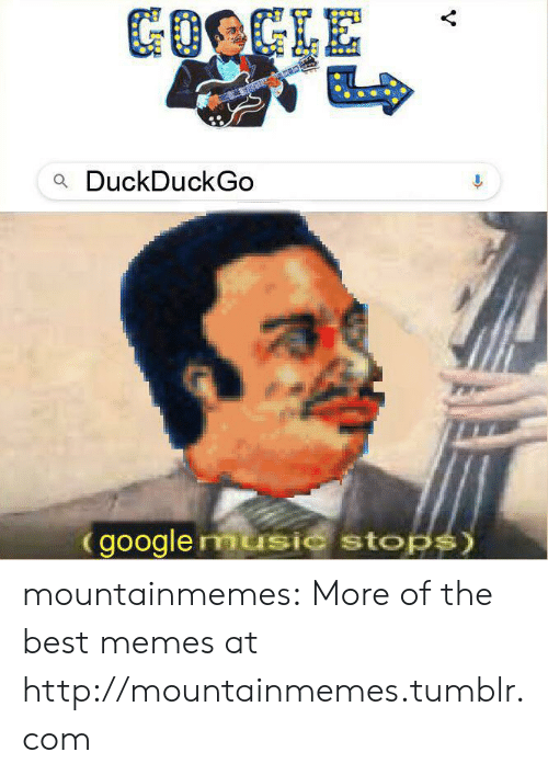 Google, Memes, and Music: GOOGLE  aDuckDuckGo  google music stops) mountainmemes:  More of the best memes at http://mountainmemes.tumblr.com