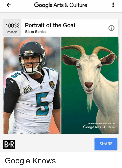 Anaconda, Google, and Goat: Google Arts & Culture  100%  Portrait of the Goat  match  Blake Bortles  R68  Jacksonville Museum of Art  Google Arts & Culture  B R  SHARE Google Knows.