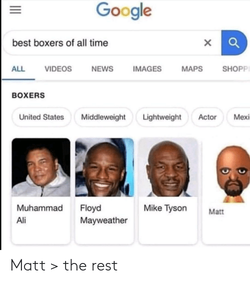 Ali, Floyd Mayweather, and Google: Google  best boxers of all time  SHOPPI  ALL  VIDEOS  NEWS  IMAGES  MAPS  BOXERS  Lightweight  Mexi  United States  Middleweight  Actor  Muhammad  Floyd  Mayweather  Mike Tyson  Matt  Ali  II Matt > the rest