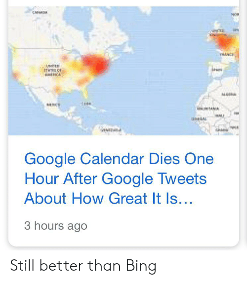 Google Calendar Dies One Hour After Google Tweets About How