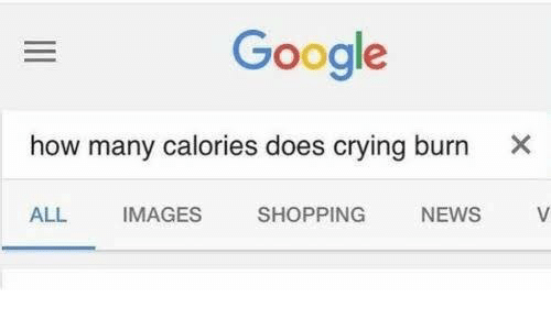Crying, Google, and News: Google  how many calories does crying burn X  IMAGES  SHOPPING N  ALL  NEWS V