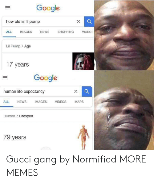 Dank, Google, and Gucci: Google  how old is lil pump  ALL IMAGES NEWS SHOPPING VIDEOs  Lil Pump Age  17 years  Google  human life expectancy  ALL NEWS IMAGES VIDEOS MAPS  Human Lifespan  79 years Gucci gang by Normified MORE MEMES