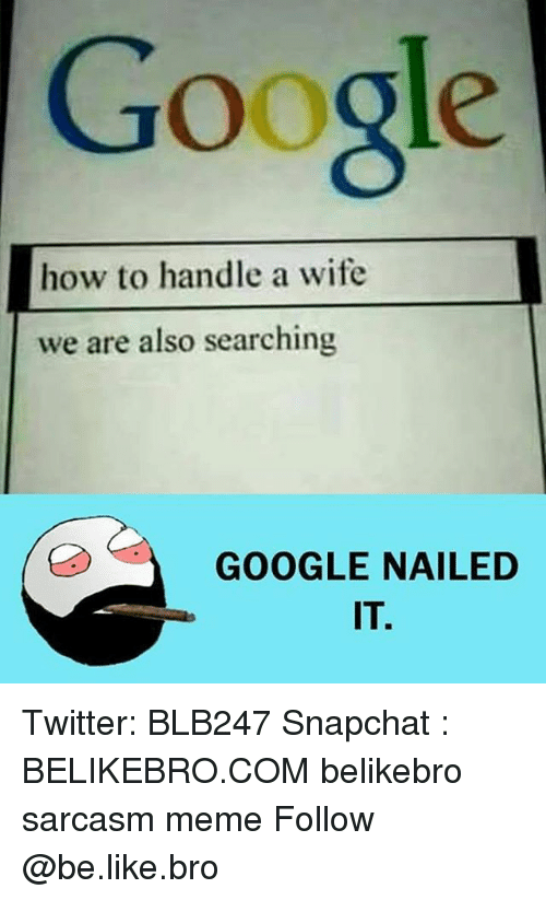 Be Like, Google, and Meme: Google  how to handle a wife  we are also searching  GOOGLE NAILED  IT. Twitter: BLB247 Snapchat : BELIKEBRO.COM belikebro sarcasm meme Follow @be.like.bro