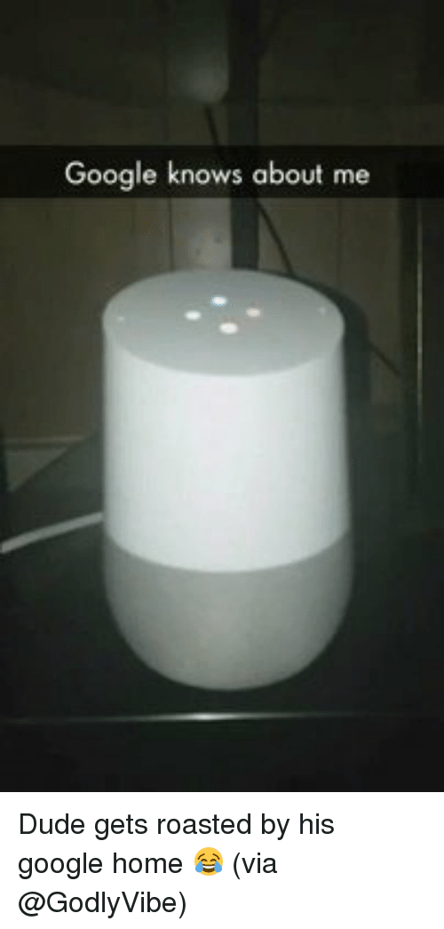 Memes, 🤖, and Google Home: Google knows about me Dude gets roasted by his google home 😂 (via @GodlyVibe)