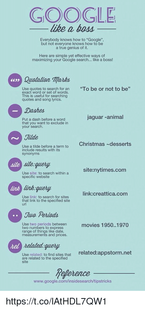"Memes, Dessert, and Google Search: GOOGLE  like a boss  Everybody knows how to ""Google""  but not everyone knows how to be  a true genius of it.  Here are simple yet effective ways of  maximizing your Google search  like a boss!  ssss Ollila  Use quotes to search for an  ""To be or not to be  exact word or set of words.  This is useful for searching  quotes and song lyrics.  Dashes  jaguar animal  Put a dash before a word  that you want to exclude in  your search.  Tilde  Christmas ~desserts  Use a tilde before a term to  include results with its  synonyms  site: nytimes.com  Use site: to search within a  specific website  link: creattica.com  Use link: to search for sites  that link to the specified site  url  Juo Perioda.  Use two periods between  movies 1950..1970  two numbers to express  range of things like date,  measurements and prices.  related query  Use related to find sites that  related:appstorm.net  are related to the specified  site  heference  www.google.com/insidesearch/tipstricks https://t.co/lAtHDL7QW1"