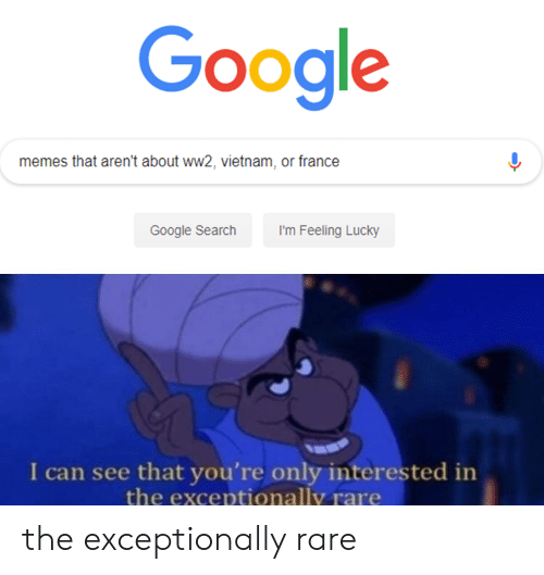 Google, Memes, and France: Google  memes that aren't about ww2, vietnam, or france  Google Search  I'm Feeling Lucky  I can see that you're only interested in  the exceptionally rare the exceptionally rare