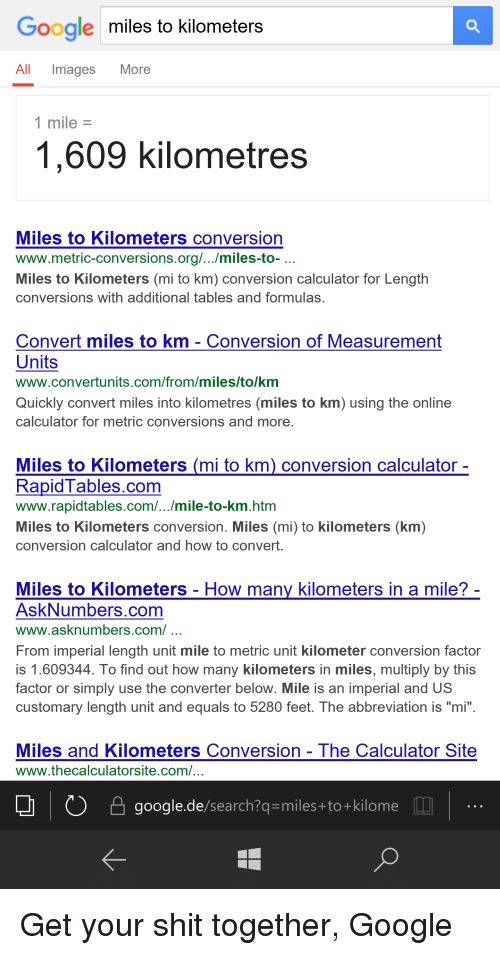 Funny Google And Miles To Kilometers All Images More 1 Mile