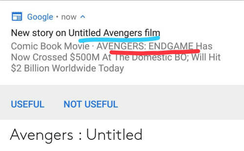 Google Now New Story on Untitled Avengers Film Comic Book