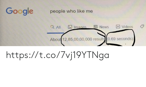 Google, Memes, and News: Google  people who like me  Q All  Videos  News  Images  About 12,85,00,00,000 results 0.69 seconds) https://t.co/7vj19YTNga