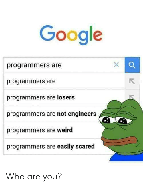 Google, Weird, and Who: Google  programmers are  programmers are  programmers are losers  programmers are not engineers  programmers are weird  programmers are easily scared Who are you?
