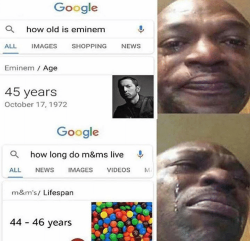 Dank, Eminem, and Google: Google  Q  how old is eminem  ALL IMAGES SHOPPING NEWS  Eminem / Age  45 years  October 17, 1972  Google  a  how long do m&ms live  ALL NEWS IMAGES VIDEOS M  m&m's/ Lifespan  44 46 years